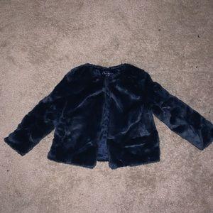 Cherokee Faux Fur Coat size 4T-5T. Navy. Like new